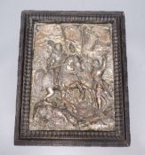A 19th century French electrotype plaque, depicting a medieval battle scene, indistinctly signed,