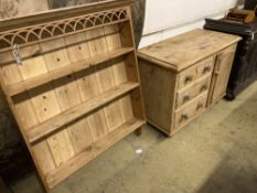 A Victorian pine dresser base, together with a panelled pine plate rack, base width 107cm, depth