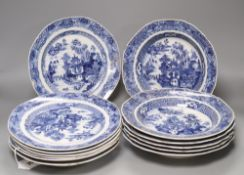 A collection of Chinese blue and white plates, Qianlong period, Fitzhugh borders (13)CONDITION: