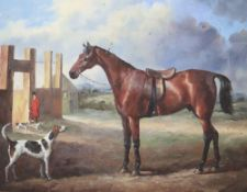 A modern oil on board, Horse and hounds near a stables, 19 x 24cm