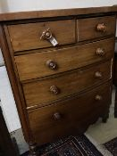 A Victorian mahogany bow front chest, width 110cm, depth 54cm, height 131cm