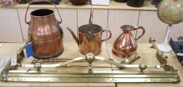 A late Victorian Art Nouveau brass fire kerb, length 132cm, a set of three Victorian fire brasses, a