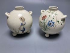 A pair of globular earthenware posy vases, height 10cmCONDITION: By Bishop & Stonier- ie BISTO,