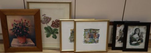 A group of assorted paintings and prints including a Victorian botanical watercolour of Primulas, 38