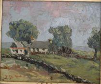 J. Glyn Roberts, oil on board, Farm in a landscape, signed, 23 x 28cm