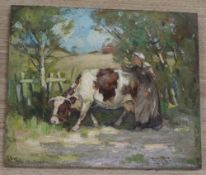 George Smith, oil on canvas, Cow and dairy maid on a lane, signed, 25.5 x 30cm, unframed