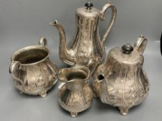 A four piece silver plated tea and coffee set, tallest 24cm