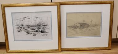Cyril Mount (1920-2013), two drawings, Stuka raid on battery position, Alamein, 9/42 and Alamein