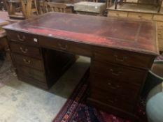 A late Victorian mahogany pedestal partner's desk, width 168cm depth 99cm height 83cm
