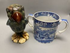 A pearlware fallow deer loving cup and a Martin Bros style bird jar and cover, height 22cm