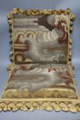 A pair of antique tapestry cushions, 40 x 38cm