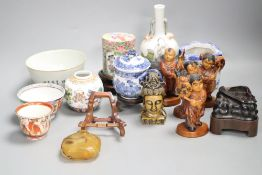 A group of Chinese porcelain bowls and vases and wood items etc., 19th/20th century