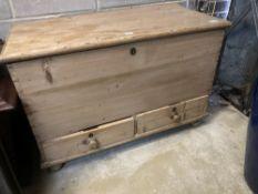 A 19th century pine mule chest, width 100cm depth 50cm height 69cm