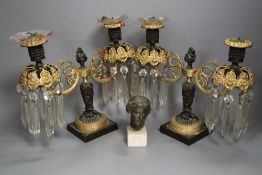 A pair of Regency two branch two light lustres, width 27cm, and a miniature bust