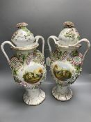 A pair of Coalbrookdale style lidded vases, overall height 43cm