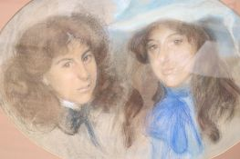 Early 20th century English School, pastel, Portrait of two sisters, oval, 51 x 71cm