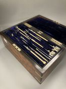 A mid Victorian burr walnut cased artist / draughtsman's box, with a well fitted interior, 36 x 19 x