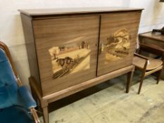 A Swedish inlaid side cabinet, width 134cm depth 47cm height 125cm