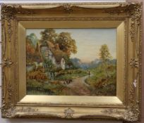 Stanley Clark (1888-1942), oil on canvas, Cottages with figure and chickens, signed, 30 x 40cm