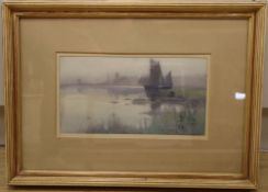 Carleton Grant RBA (1860-1930), watercolour, Sailing ship on a misty estuary, signed and dated '