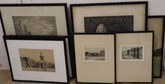 Eight assorted prints including etchings of Trinity College by Rudge