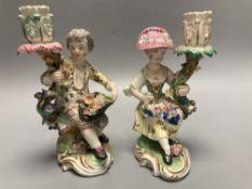 A pair of Minton figural candlesticks, c.1835, height 14cm, in Meissen style