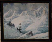 A. Tommasini, oil on canvas, Alpine landscape, signed, 73 x 93cm