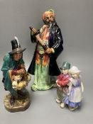 Three Doulton figures: Willy Won't He, HN7818, The Mask Seller, HN2103 and Blue Beard HN2105,