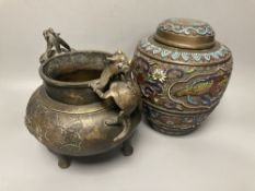 A 19th century Chinese bronze two handled tripod censer, overall height 19cm and a champleve