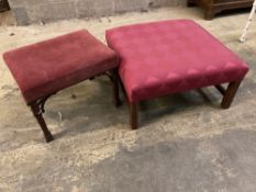 Two George III style mahogany stools, larger 72 x 70cm height 34cm