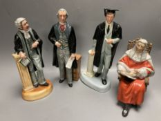 Four Royal Doulton figures: The Lawyer HN3041, The Statesman HN2855, The Graduate HN3017 and The
