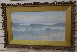 Frederick William Sturge (1878-1908), watercolour, Waves breaking on the shore, signed 37 x 69 cm