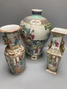 Two 19th century Chinese famille rose vases and another vase, tallest 29cm