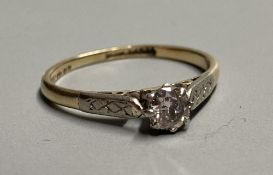 An 14ct gold and solitaire diamond ring, size L, gross 1.8 grams.CONDITION: Stone approx. 0.18- 0.