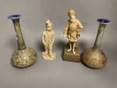 A Royal Worcester figure, an Ernst Wahliss Vienna figurine, and a pair of Doulton vases, tallest
