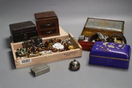 A group of costume jewellery, watches, small boxes and cases