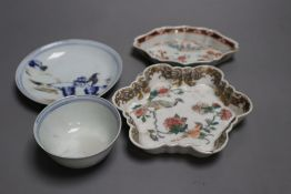 Chinese famille rose teapot stand and a similar spoon, both Yongzheng period and a Nanking cargo tea