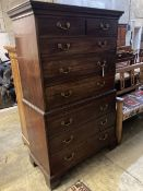 A George III mahogany chest on chest, width 110cm depth 54cm height 179cm