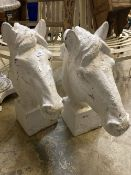 A pair of Victorian painted cast iron horse head garden ornaments, height 62cm