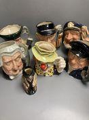 Five Royal Doulton character jugs, a Royal Doulton 'The Clown' character jug and a smaller Winston