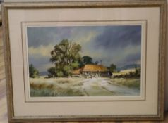Denis Pannett (b.1939), watercolour, Sunlight on the cornfields, Sussex, signed, 34 x 53cm