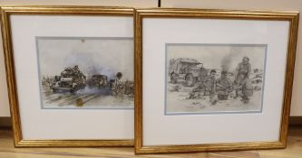 Cyril Mount (1920-2013), pencil drawing and ink and wash study, 'Brew Up', 9/42 and Track through