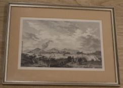 After Gaspard Duche de Vancy (1756-1788), 18th century black and white engraving, Waterfront scene
