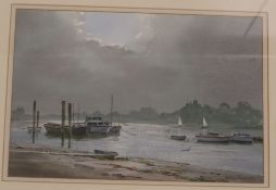 Ashton Cannell (d.1994), two watercolours, Estuary scenes with moored boats, signed, 24 x 35cm and
