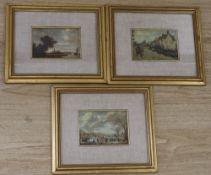 Rubino Cornici of Naples, three printed silk reproductions of Old Master paintings, 10 x 14cm