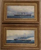 A pair of modern oils on board of American steamships, indistinctly signed, 14 x 29cm