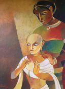 Niren Sen Gupta, acrylic on canvas, 'Princess and a monk', signed, 76 x 61cm, unframed