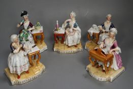 After Meissen originals. A group of five late 19th century porcelain groups, emblematic of the