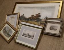 A quantity of prints and engravings: a pair of framed black & white steel engravings of