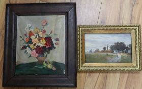 R.V. Herman, oil on millboard, Traveller in a landscape, signed, 14 x 22cm and an oil on canvas,